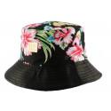 Bob JBB Couture en tissu florale noir avec revers simili cuir