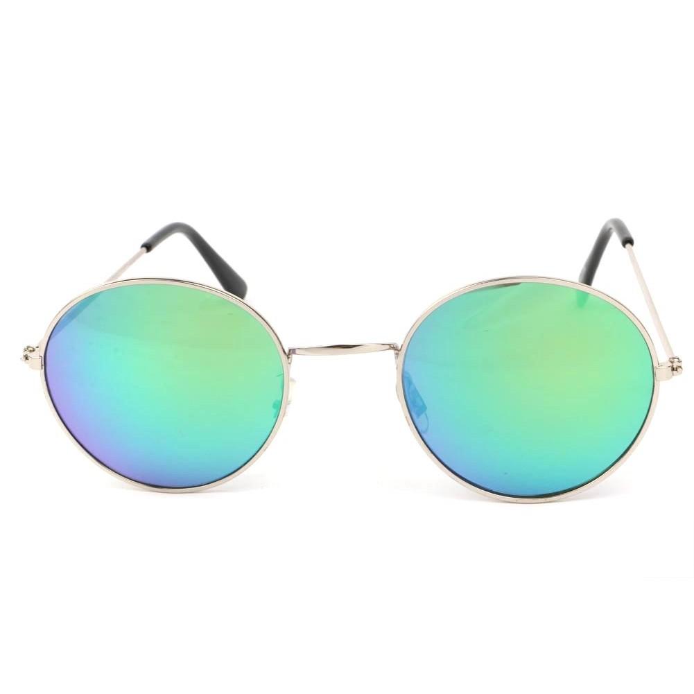e0c4c56d816d57 ... Lunettes Soleil John monture argent verres reflets Bleu ...