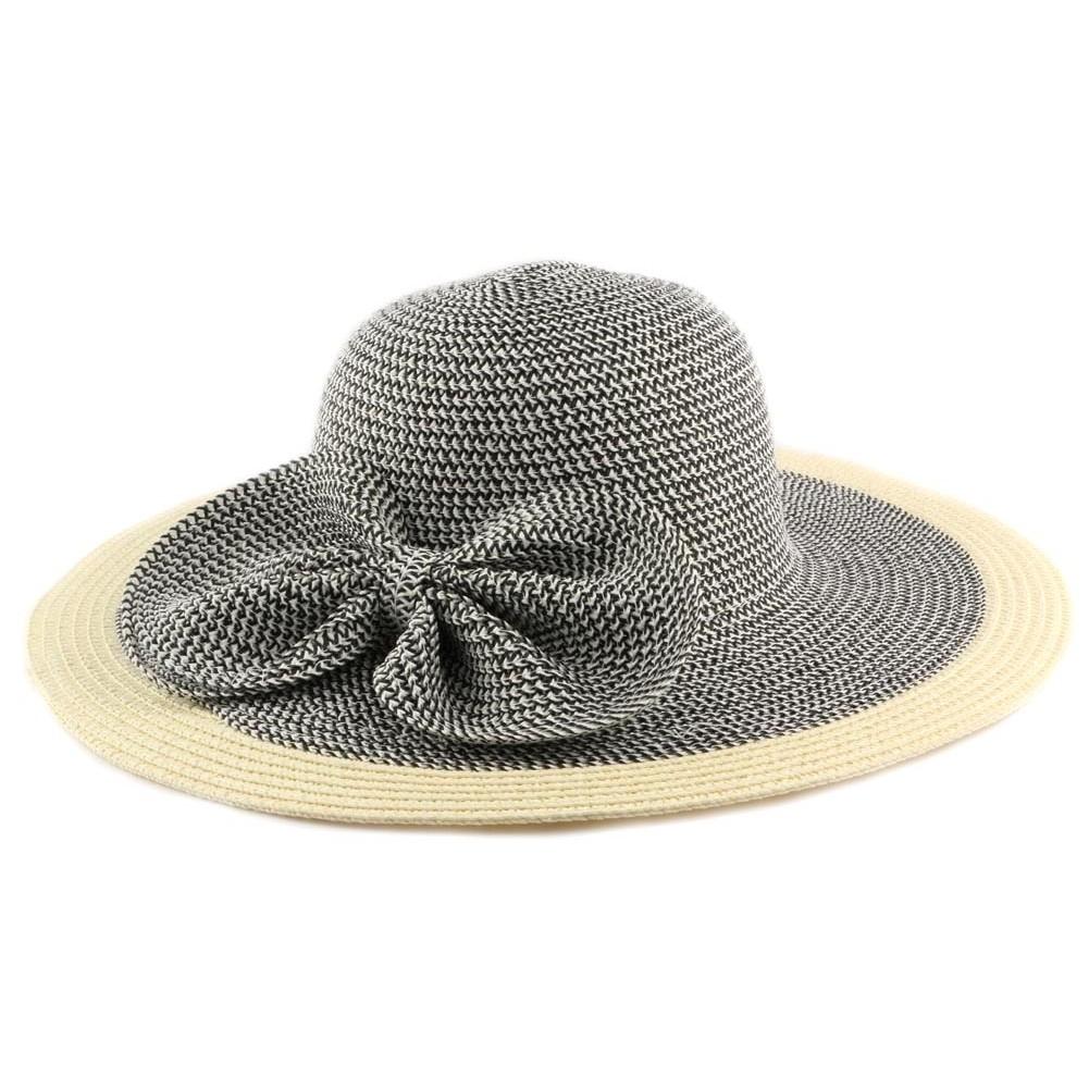 chapeau de paille lubly capeline noire et cr me par nyls cr ation avec. Black Bedroom Furniture Sets. Home Design Ideas
