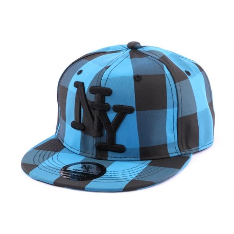 snapback ny bleue et noire casquette streetwear en damier sur site headwear hatshowroom. Black Bedroom Furniture Sets. Home Design Ideas