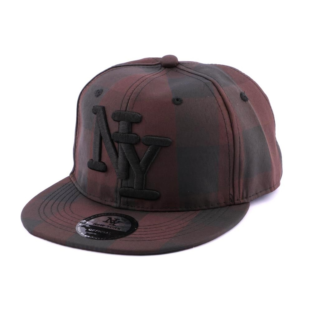 casquette snapback ny carreaux noirs et marrons hatshowroom site headwear. Black Bedroom Furniture Sets. Home Design Ideas