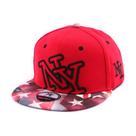 Snapback NY Rouge Vintage Drapeau USA ANCIENNES COLLECTIONS divers