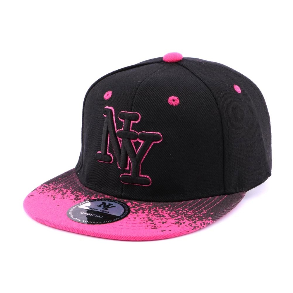 casquette snapback enfant ny noire et rose hatshowroom site headwear. Black Bedroom Furniture Sets. Home Design Ideas