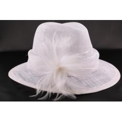 Chapeau mariée Landine Blanc en sisal chapeau mariee Léon montane